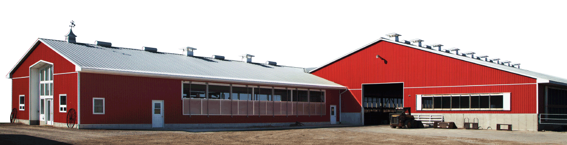 red barn with custom trim, ventilator, cupolas, and shutters